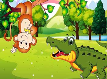 Monkey and Crocodile Story - Jataka Tales Moral Short Stories for Kids